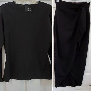 Adrianna Papell Black wool skirt suit Size Medium